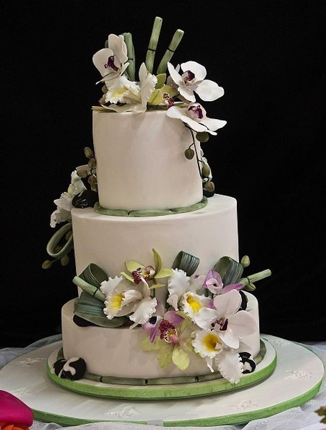 Three tier Wedding Cake - Oriental theme