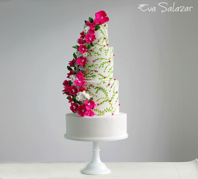 Floral Pre-summer Wedding Cake
