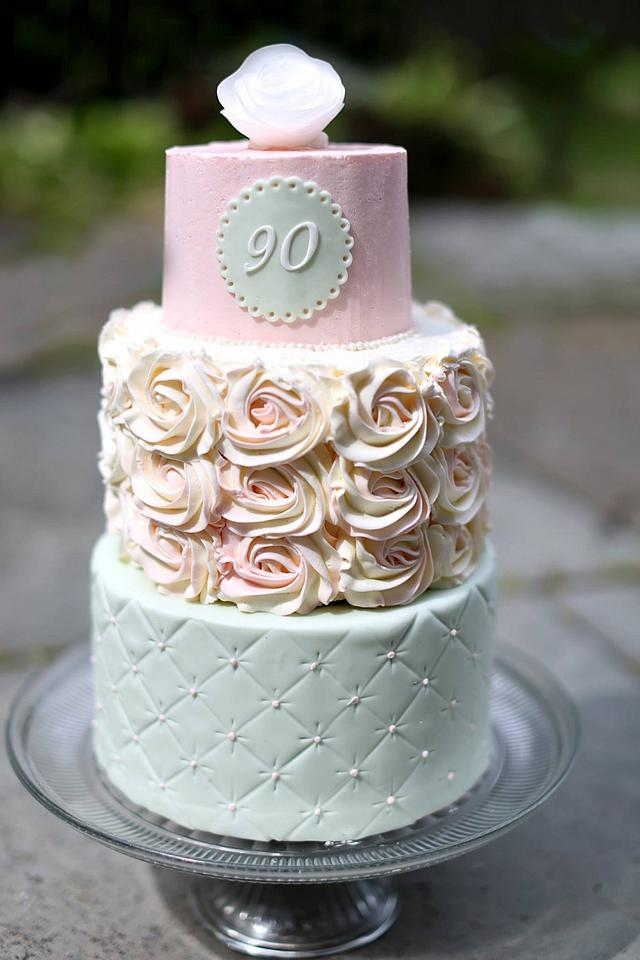 Fantastic For A Sweet And Sophisticated 90Th Birthday Cake By Cakesdecor Funny Birthday Cards Online Alyptdamsfinfo