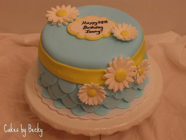 Excellent Daisy Birthday Cake Cake By Becky Pendergraft Cakesdecor Funny Birthday Cards Online Elaedamsfinfo
