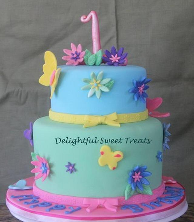 Enjoyable Flowers And Butterflies 1St Birthday Cake By Kathleen Cakesdecor Personalised Birthday Cards Beptaeletsinfo