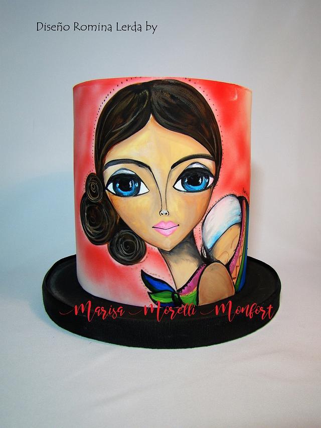 Torta pintura Coya (diseño artista Lerda R. por M. Morelli Monfort)