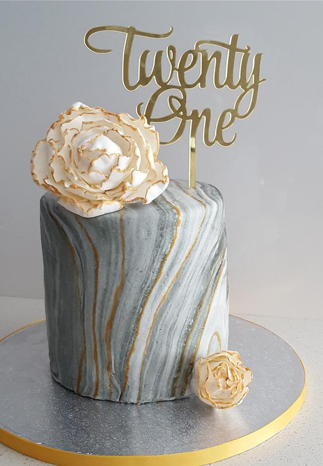 Cool Marble 21St Birthday Cake Cake By Ginny Cakesdecor Funny Birthday Cards Online Fluifree Goldxyz