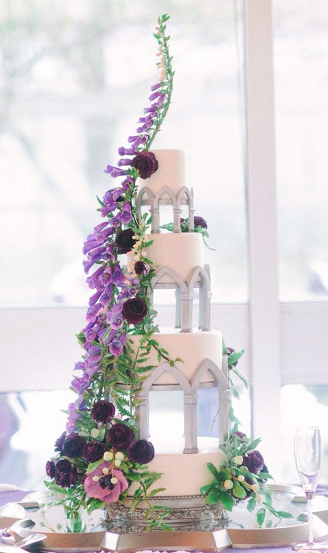 Purple Sugar Foxglove Wedding Cake