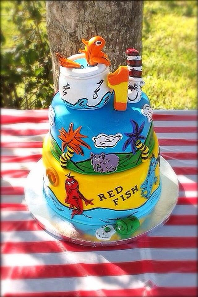 Astonishing Dr Seuss First Birthday Cake Cake By Teresa Markarian Cakesdecor Funny Birthday Cards Online Aeocydamsfinfo