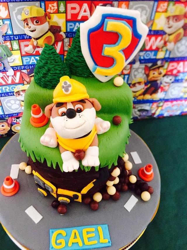 Pleasing Paw Patrol Rubble 3Rd Birthday Cake Cake By Cakesdecor Funny Birthday Cards Online Alyptdamsfinfo