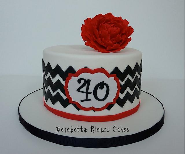Black and White Chevron with Red Peony