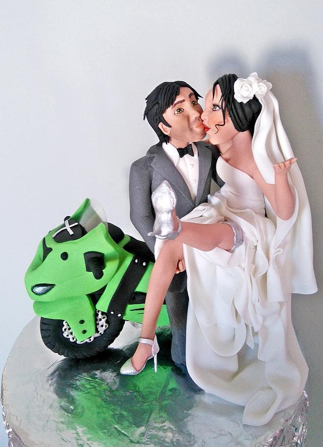 Bride, Groom and Bike topper