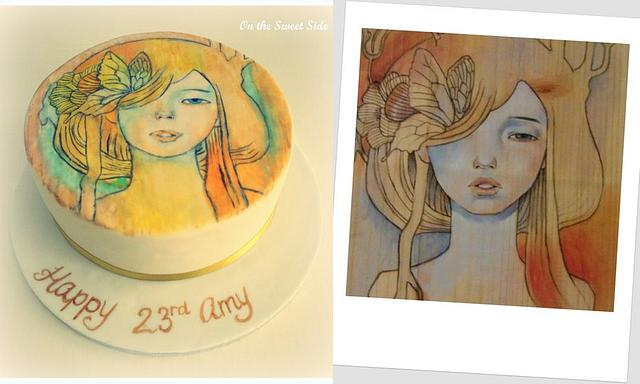 Hand-painted 'artwork' on cake