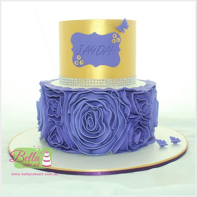 Gold and purple ruffle cake