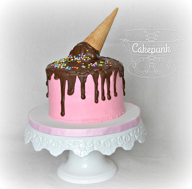 Melting Ice Cream Cone Cake