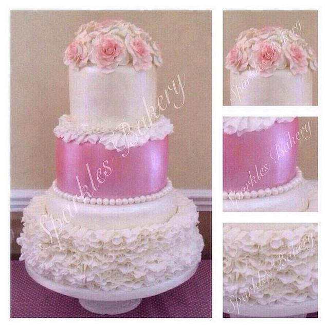 3 TIER VINTAGE RUFFLE AND ROSES CAKE