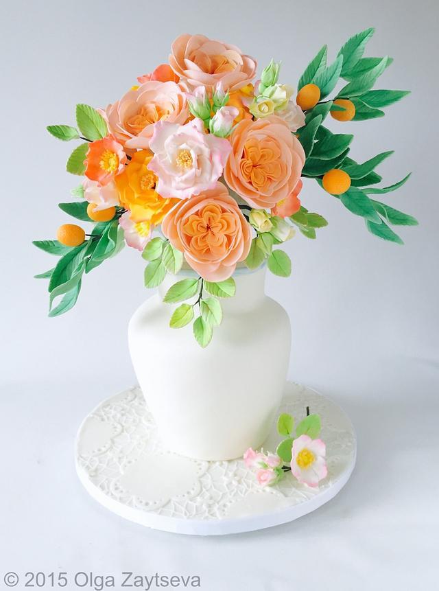 Roses and Kumquats bouquet cake