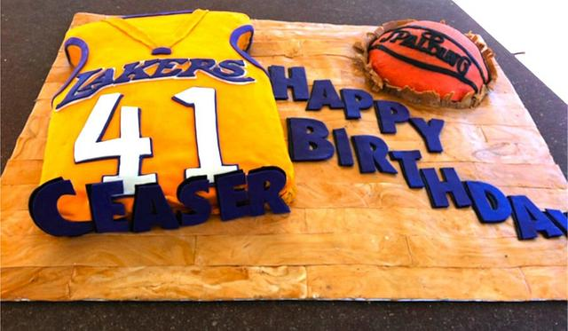 Groovy Lakers Birthday Cake Cake By Tiffany Mccorkle Cakesdecor Funny Birthday Cards Online Sheoxdamsfinfo