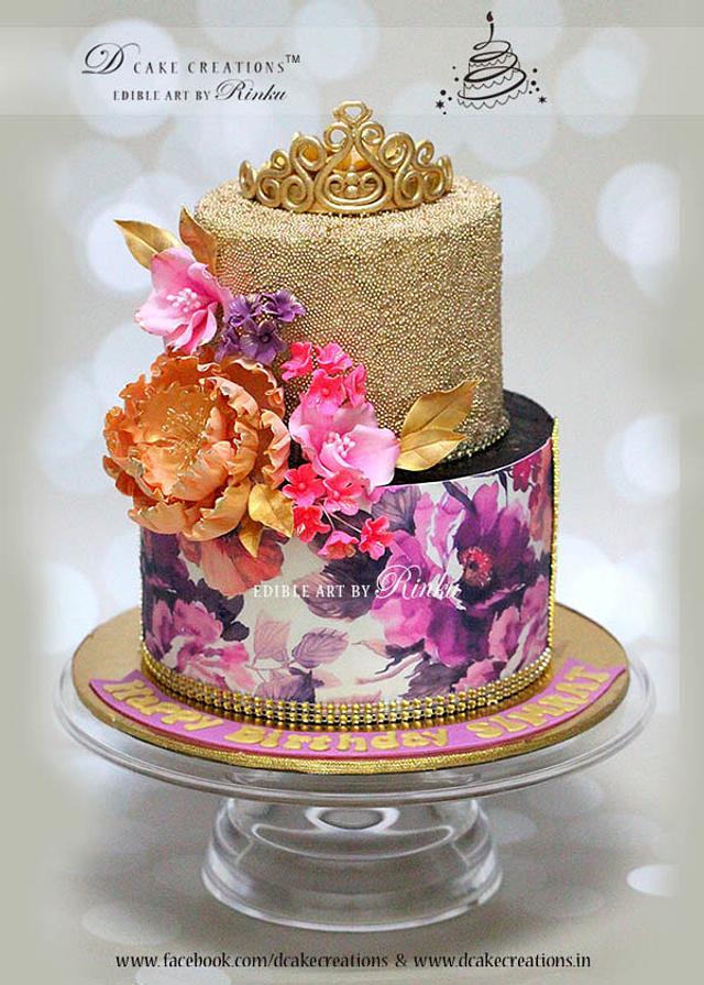 Gold Glitter Tiara Cake