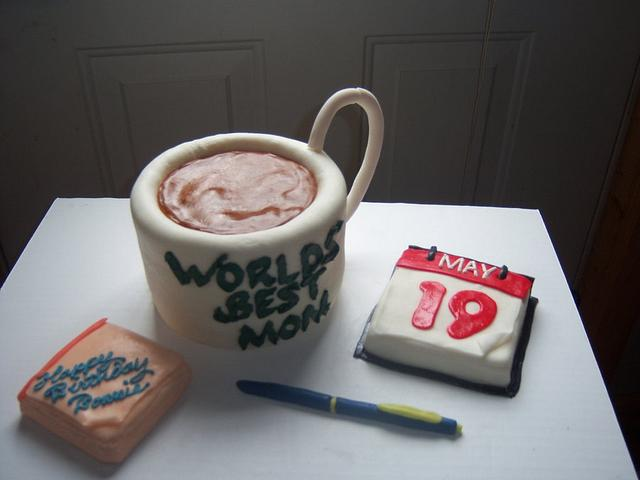 desk mug, w/ notepad and calender