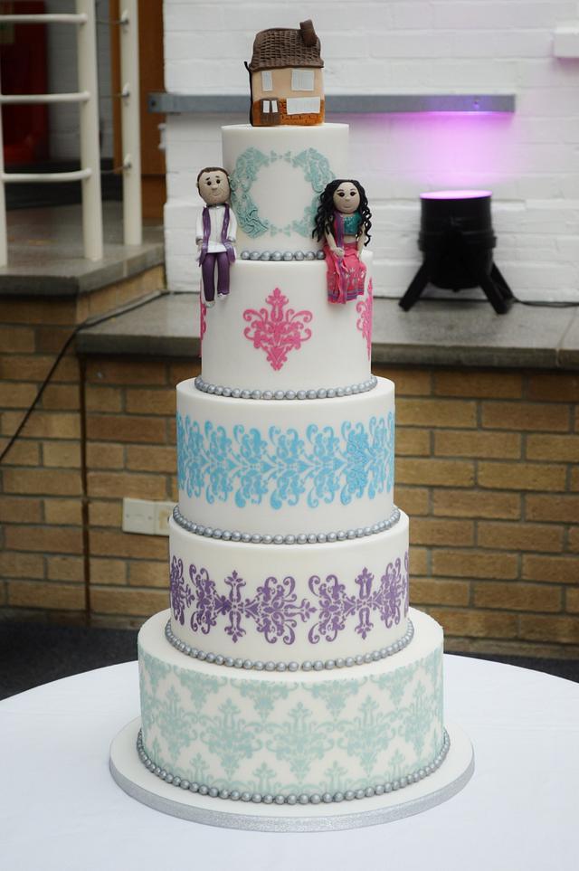 Sari inspired Wedding cake