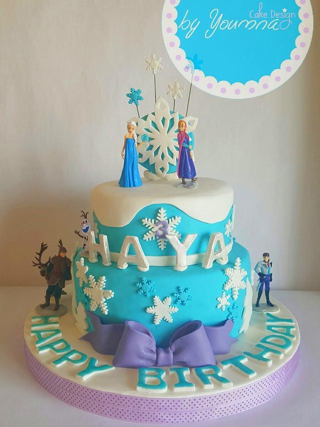 Cool Frozen Birthday Cake Cake By Cake Design By Youmna Cakesdecor Personalised Birthday Cards Epsylily Jamesorg