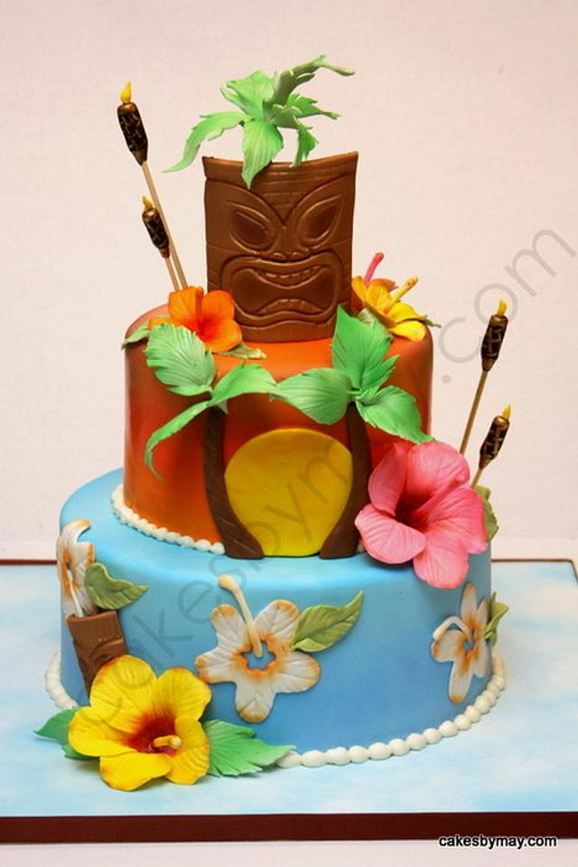 Pleasant Hawaiian Luau Birthday Celebration Cake By Cakes By Cakesdecor Funny Birthday Cards Online Alyptdamsfinfo