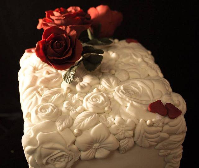 Rose cake with Bas Relief