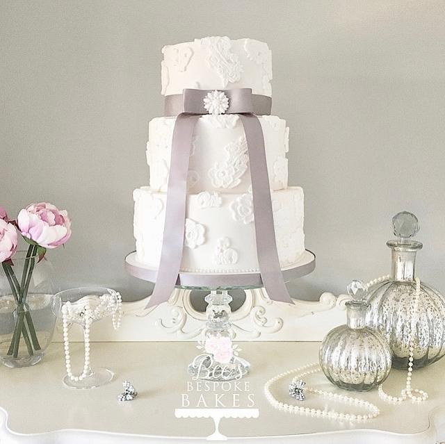 Applique Lace Wedding Cake