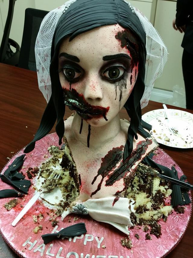 Zombie bride halloween cake