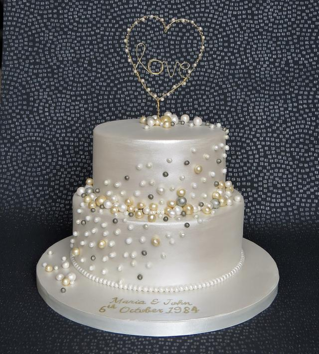 Pearl Anniversary Cake with Handmade Topper
