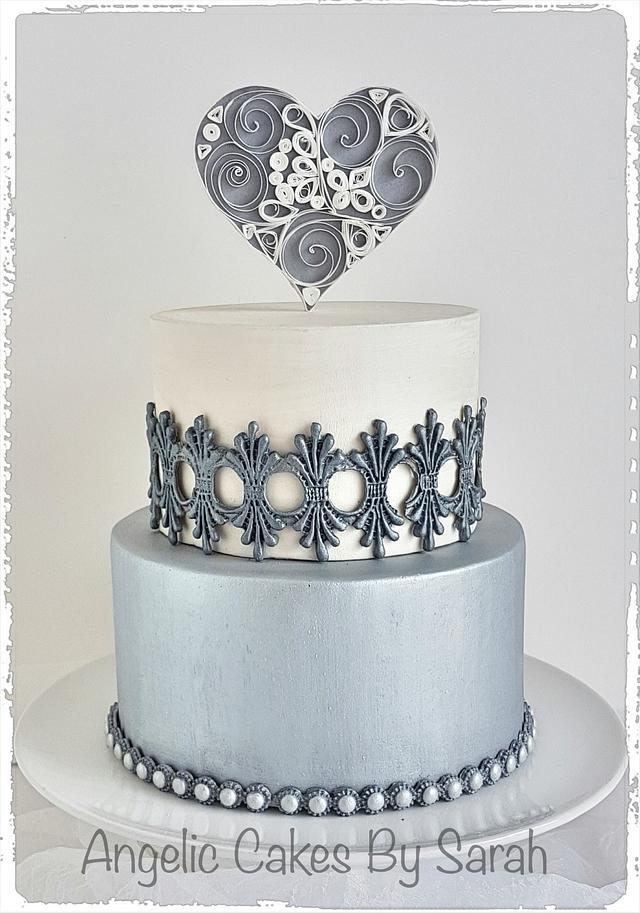 Small Silver Wedding Cake Trio 2