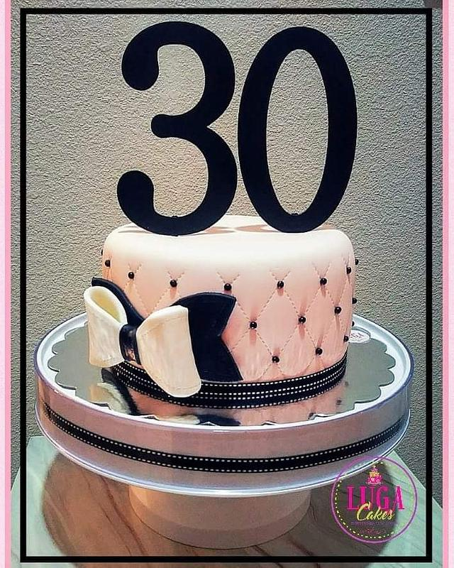 Pink & black quilted cake