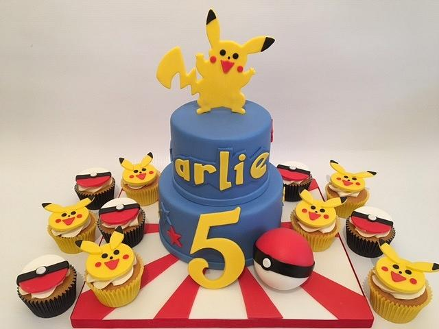 Pokemon cake and cup cakes