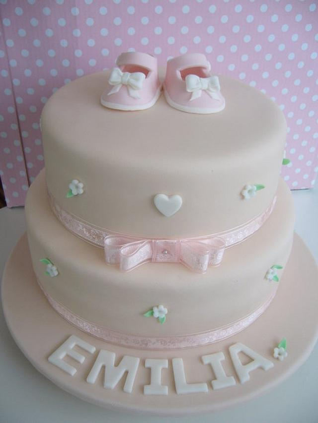 Christening shoes cake