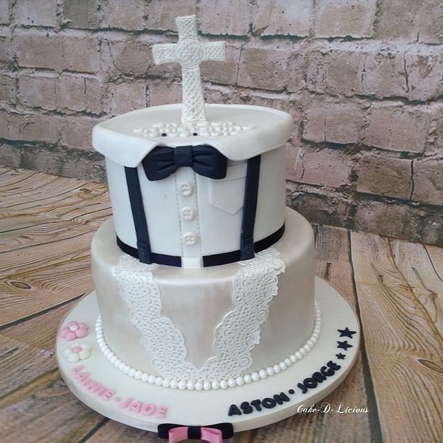 Mixed Gender Christening Cake