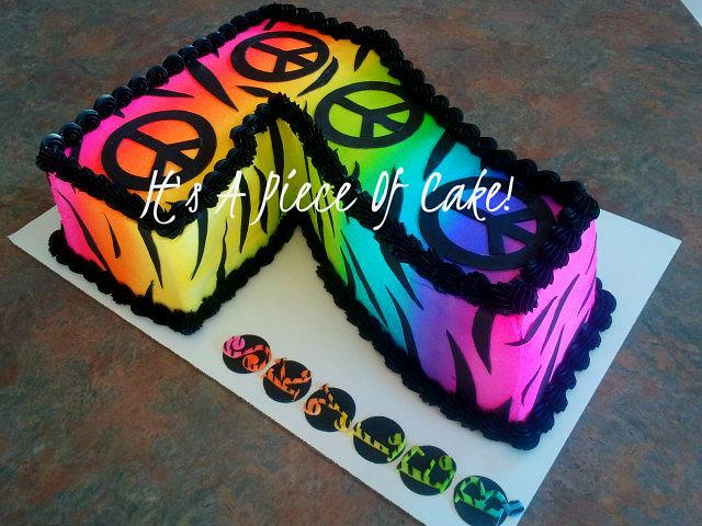 Fabulous Peace Sign And Zebra Print Buttercream Icing Cake By Cakesdecor Personalised Birthday Cards Epsylily Jamesorg