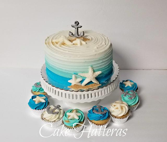 Cool Nautical Birthday Cake And Cupcakes Cake By Donna Cakesdecor Personalised Birthday Cards Veneteletsinfo