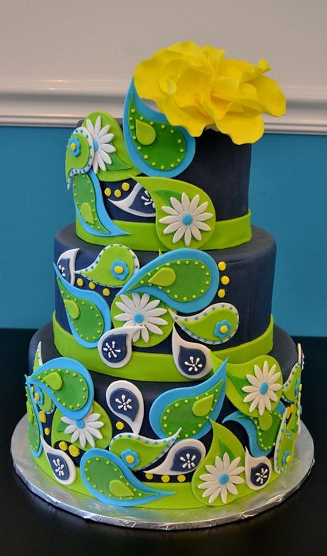 Blue and Green Paisley Cake