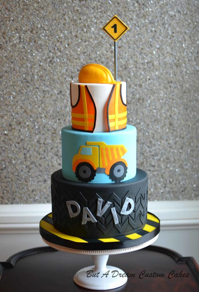 Groovy Construction Themed 1St Birthday Cake Cake By Elisabeth Cakesdecor Funny Birthday Cards Online Elaedamsfinfo