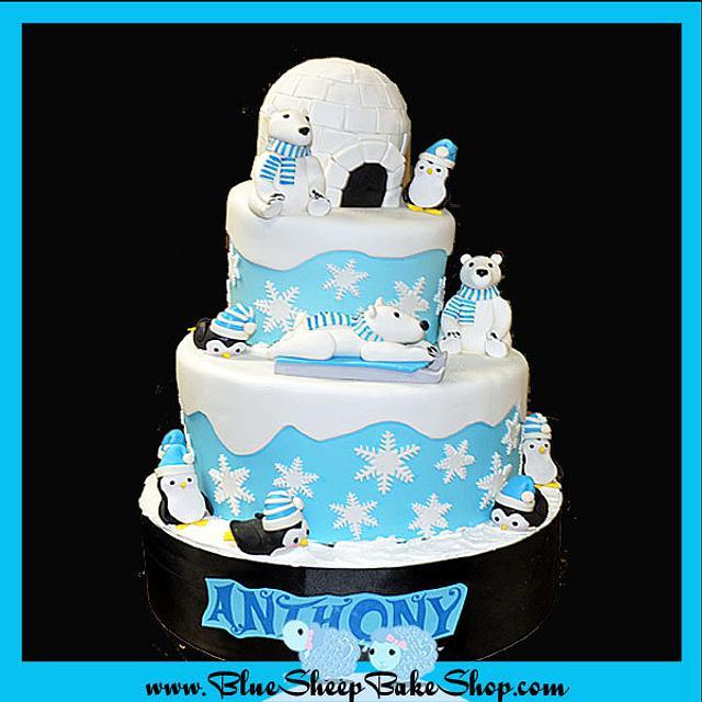 Winter Wonderland first birthday cake