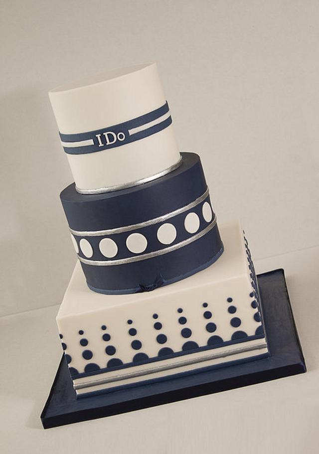 Ivory and Blue Wedding Cake