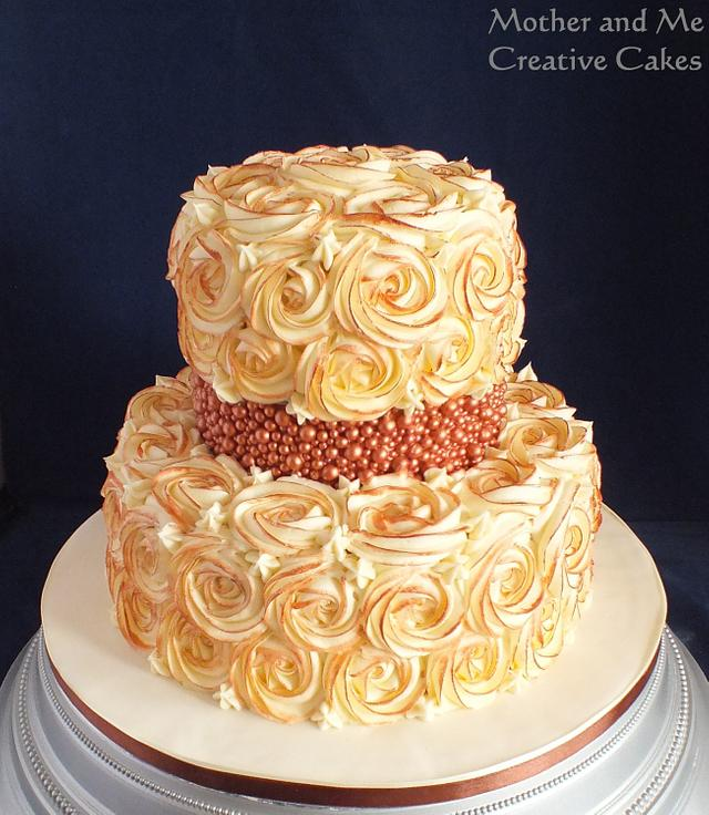 Bronze Rose Swirl Wedding Cake
