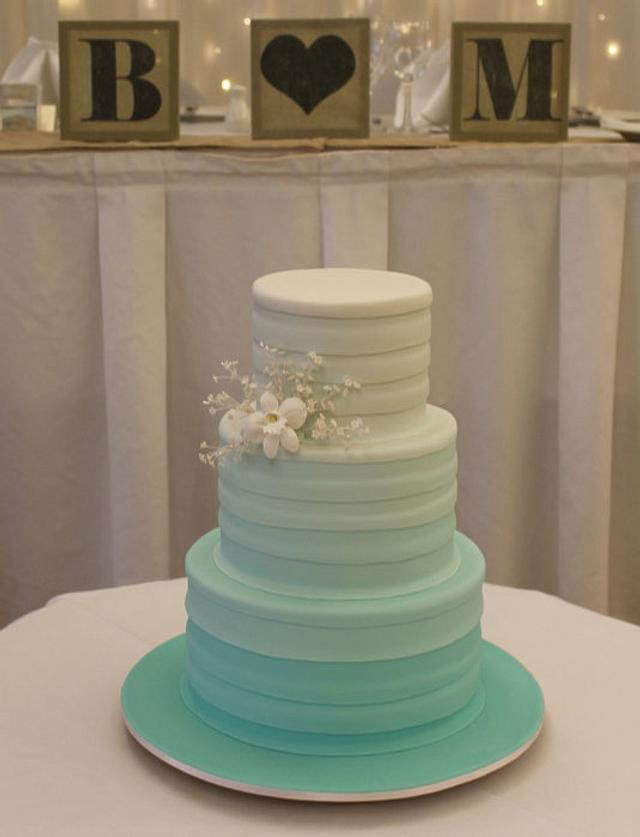 Mint Green Ombre Wedding Cake