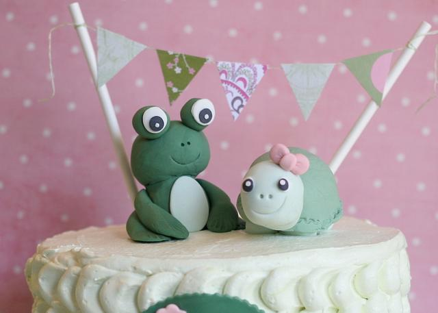 Green Frog and Turtle Birthday Cake