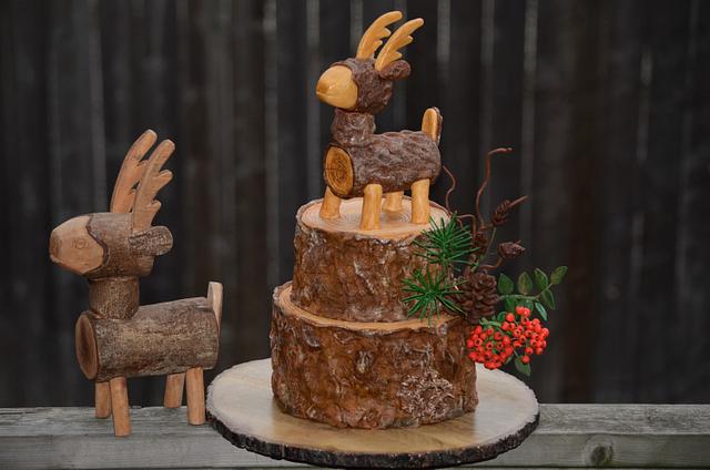 Winter tree stump cake