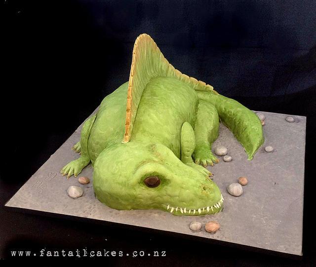 Spinosaurus Dinosaur (my first sculpted cake)