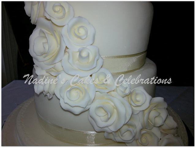 Ivory Rose Waterfall Wedding Cake
