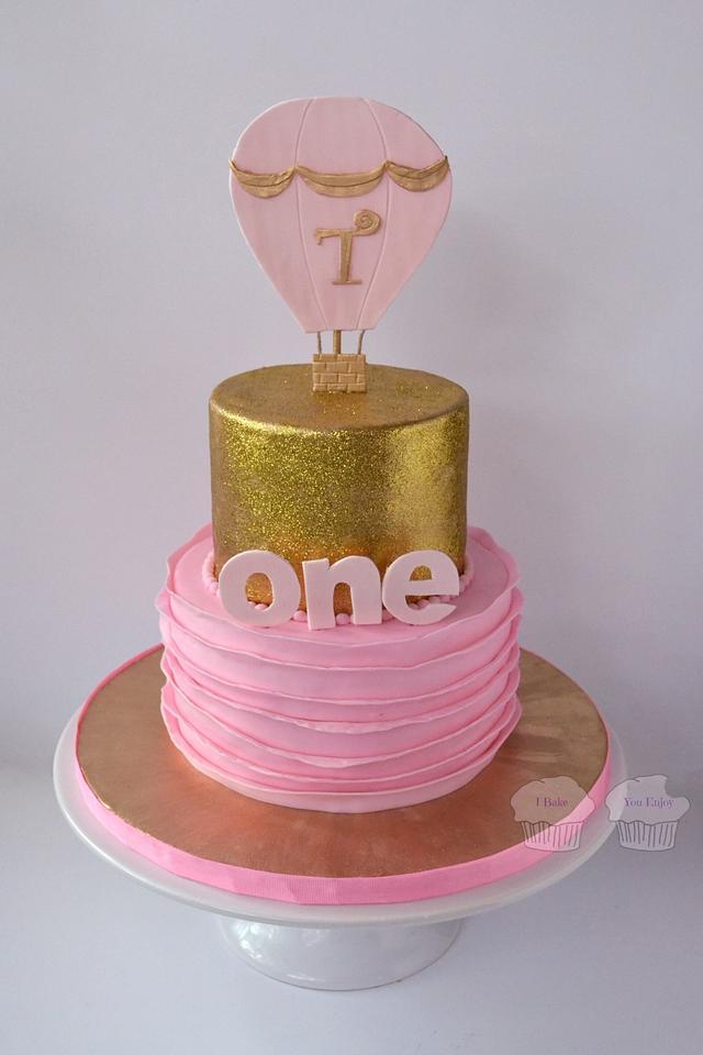 Glittery Gold and Pink Ruffles