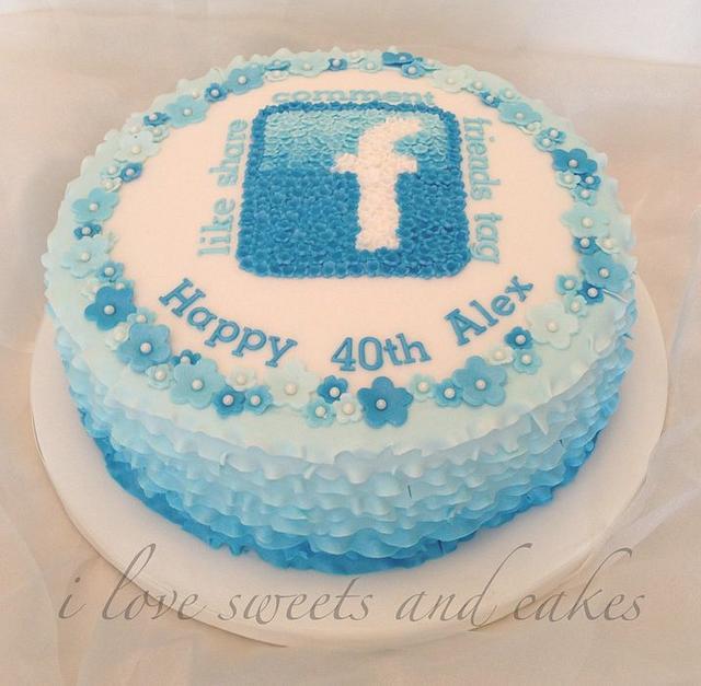 Pretty Facebook Birthday Cake