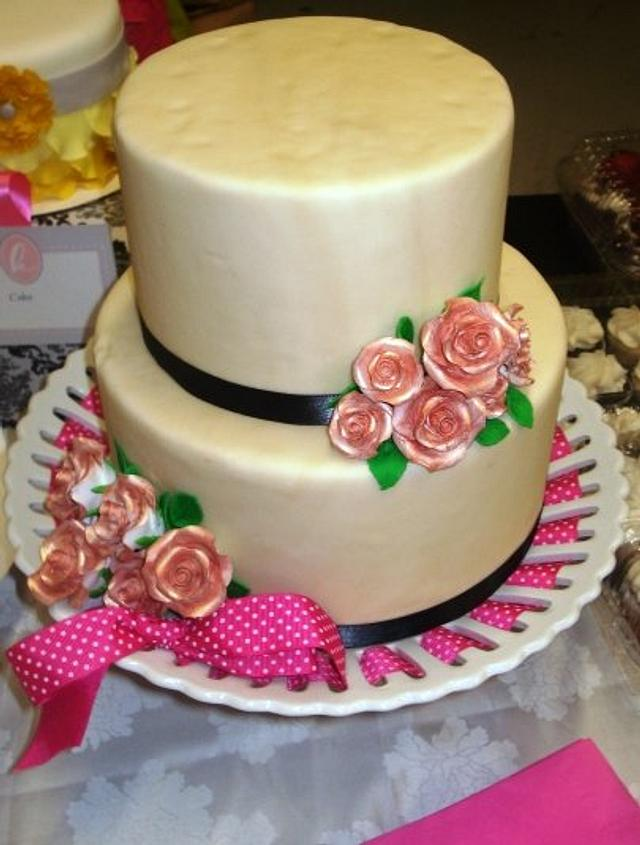 Cream and Champage Wedding Display Cake