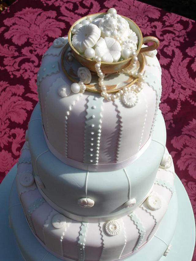 Vintage ribbon, buttons & pearls Wedding Cake