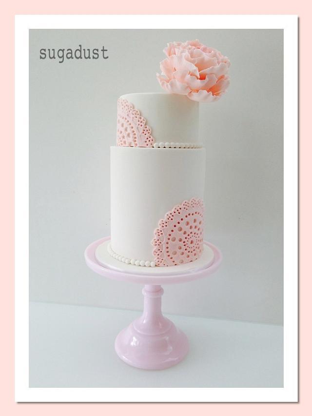 Vintage Doily Christening Cake