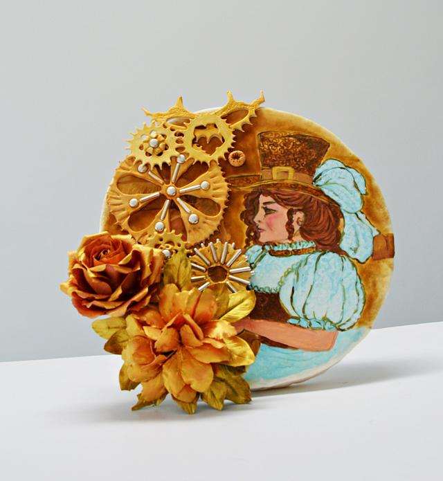 Steampunk cake collaboration- steampunk lady and flowers